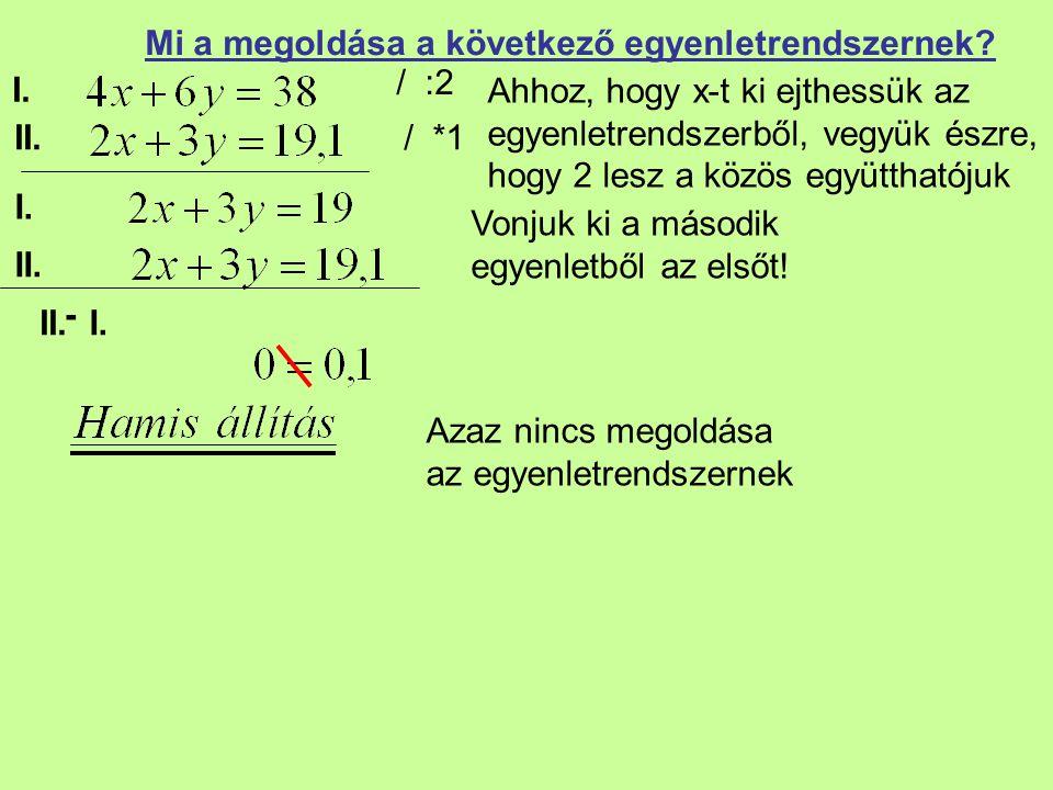 I. II. Mi a megoldása a következő egyenletrendszernek? / :2 Vonjuk ki a második egyenletből az elsőt! Azaz nincs megoldása az egyenletrendszernek / *1
