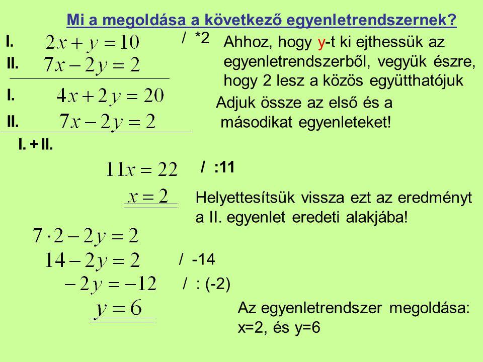 II. Mi a megoldása a következő egyenletrendszernek? / *2 Adjuk össze az első és a másodikat egyenleteket! / :11 Helyettesítsük vissza ezt az eredményt