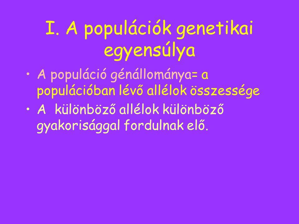 I. A populációk genetikai egyensúlya A populáció génállománya= a populációban lévő allélok összessége A különböző allélok különböző gyakorisággal ford