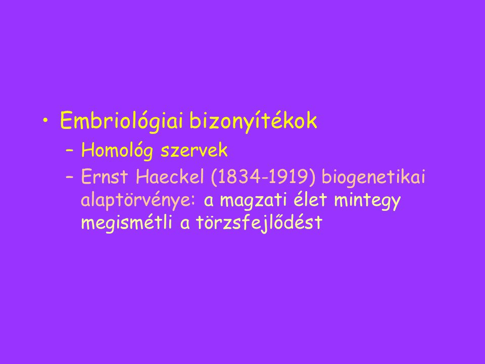Embriológiai bizonyítékok –Homológ szervek –Ernst Haeckel (1834-1919) biogenetikai alaptörvénye: a magzati élet mintegy megismétli a törzsfejlődést