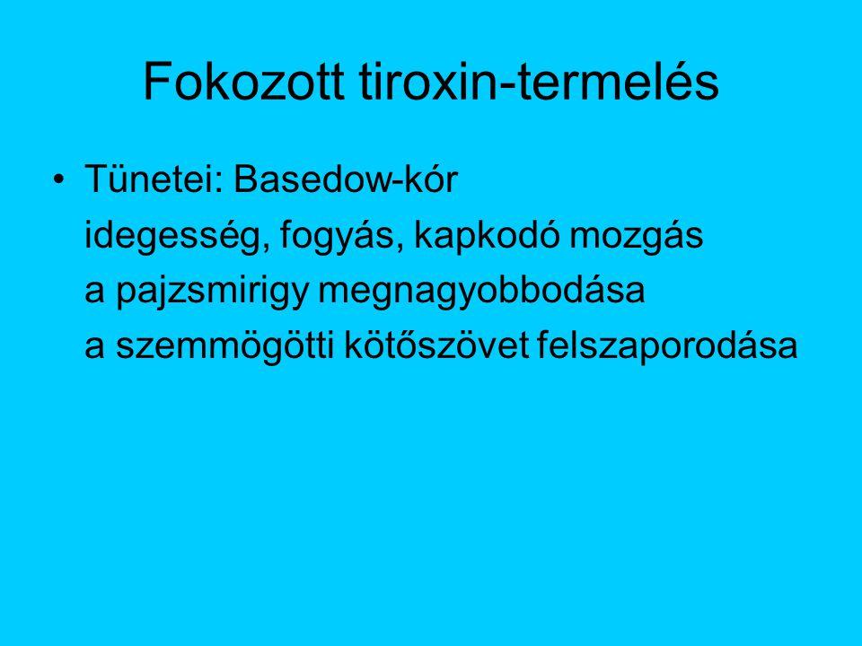 Fokozott tiroxin-termelés Tünetei: Basedow-kór idegesség, fogyás, kapkodó mozgás a pajzsmirigy megnagyobbodása a szemmögötti kötőszövet felszaporodása