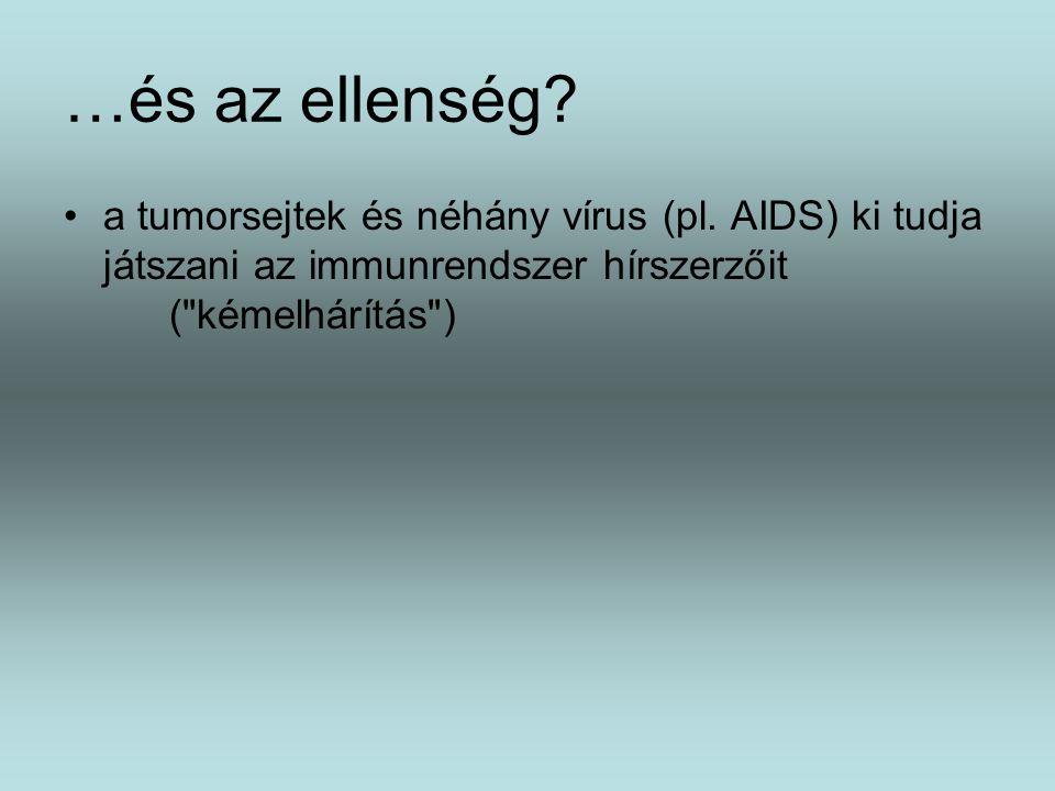 …és az ellenség? a tumorsejtek és néhány vírus (pl. AIDS) ki tudja játszani az immunrendszer hírszerzőit (