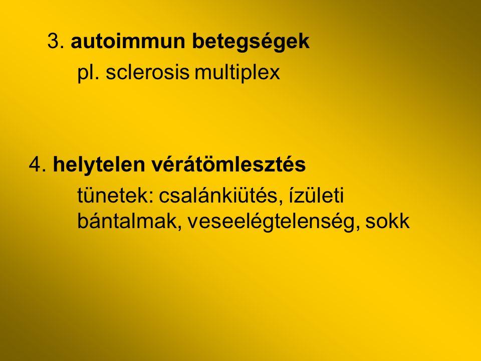 3. autoimmun betegségek pl. sclerosis multiplex 4. helytelen vérátömlesztés tünetek: csalánkiütés, ízületi bántalmak, veseelégtelenség, sokk