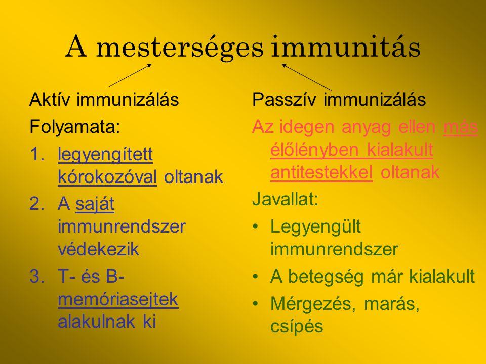 A mesterséges immunitás Aktív immunizálás Folyamata: 1.legyengített kórokozóval oltanak 2.A saját immunrendszer védekezik 3.T- és B- memóriasejtek ala