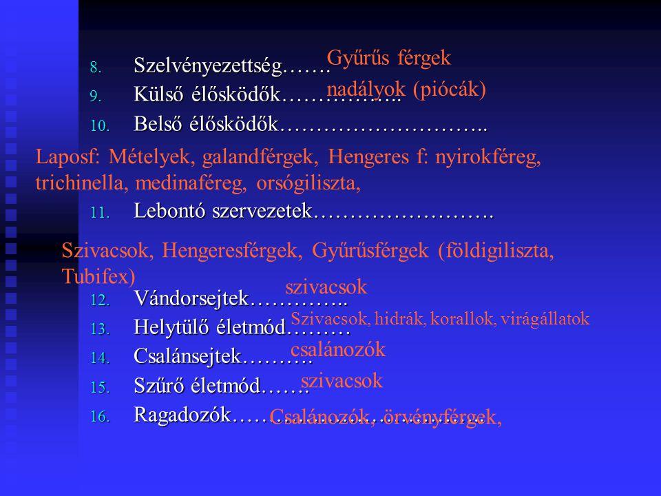 8. Szelvényezettség……. 9. Külső élősködők…………….. 10. Belső élősködők……………………….. 11. Lebontó szervezetek……………………. 12. Vándorsejtek………….. 13. Helytülő é