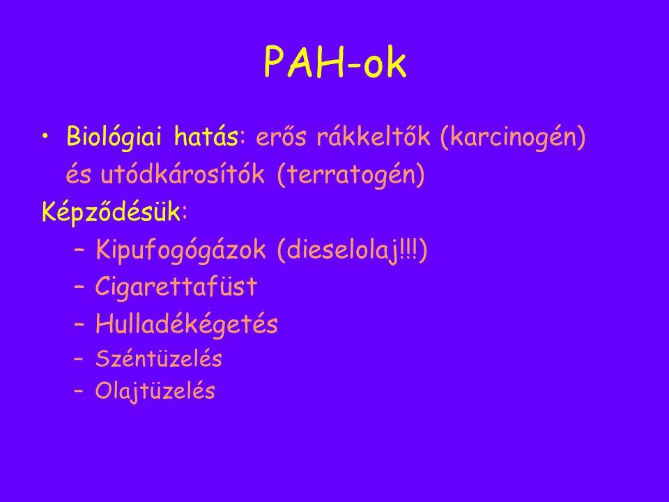 PAH-ok Biológiai hatás: erős rákkeltők (karcinogén) és utódkárosítók (terratogén) Képződésük: –Kipufogógázok (dieselolaj!!!) –Cigarettafüst –Hulladéké