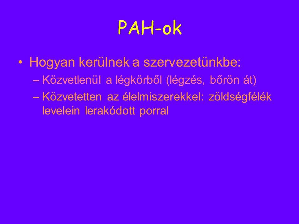PAH-ok Hogyan kerülnek a szervezetünkbe: –K–Közvetlenül a légkörből (légzés, bőrön át) –K–Közvetetten az élelmiszerekkel: zöldségfélék levelein lerakó