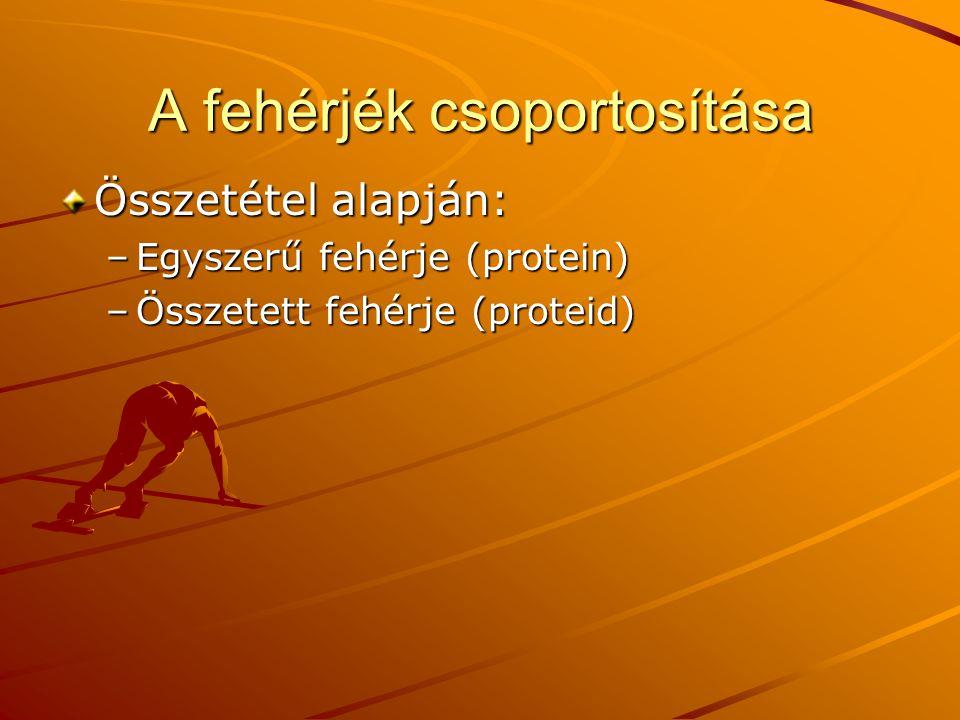 A fehérjék csoportosítása Összetétel alapján: –Egyszerű fehérje (protein) –Összetett fehérje (proteid)