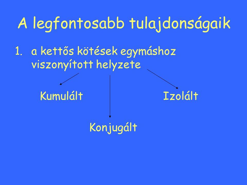 A legfontosabb tulajdonságaik 1.a kettős kötések egymáshoz viszonyított helyzete KumuláltIzolált Konjugált