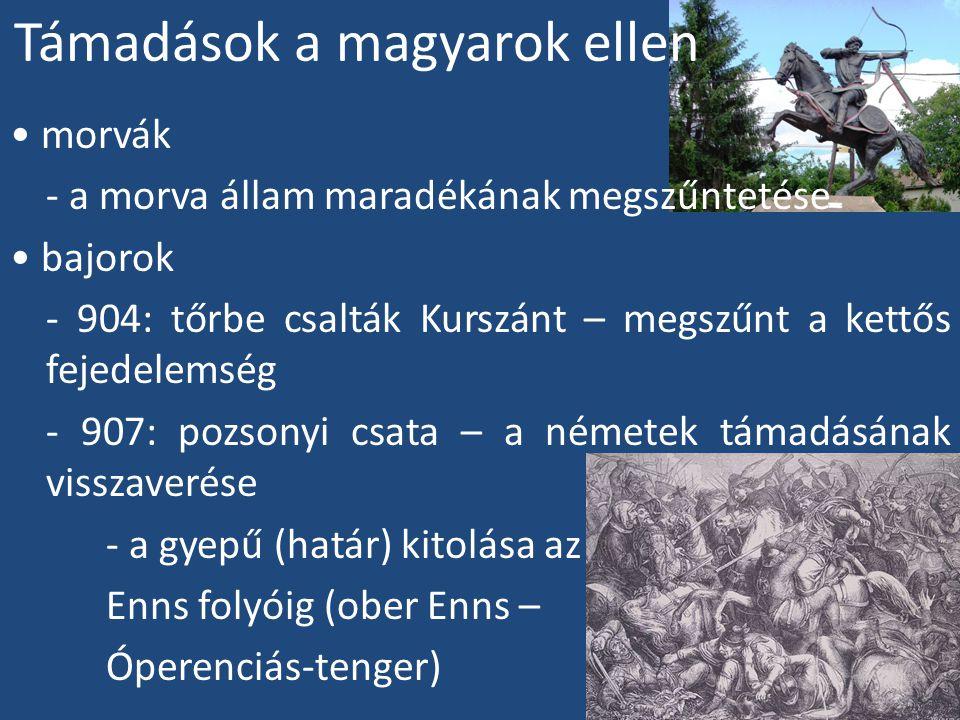 Támadások a magyarok ellen morvák - a morva állam maradékának megszűntetése bajorok - 904: tőrbe csalták Kurszánt – megszűnt a kettős fejedelemség - 907: pozsonyi csata – a németek támadásának visszaverése - a gyepű (határ) kitolása az Enns folyóig (ober Enns – Óperenciás-tenger)