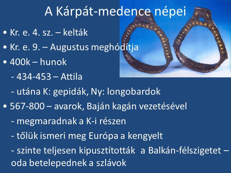 A Kárpát-medence népei - második hullámuk 680-ban érkezik - 800k Nagy Károly kifosztja az avar kagán kincstárát, megszállja Pannóniát - az avarok a K-i részekre húzódnak székelyek - monda szerint Attila fiának, Csaba királyfinak a leszármazottai - lehet, hogy a késő avaroktól származnak - magyarul beszéltek már a kora Árpád-korban is