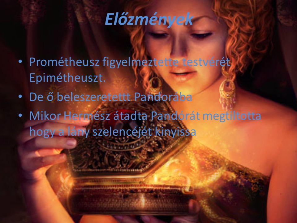 Előzmények Prométheusz figyelmeztette testvérét Epimétheuszt. De ő beleszeretettt Pandorába Mikor Hermész átadta Pandórát megtiltotta hogy a lány szel