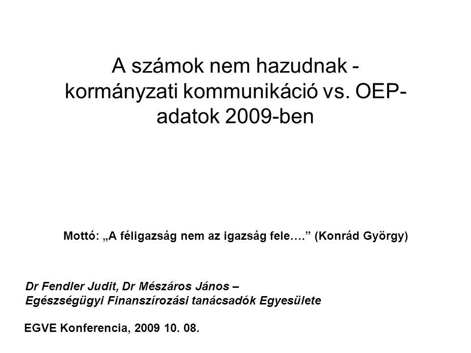 """ÁLLÍTÁS: """"Az intézmények """"pörgetik a teljesítményt az új finanszírozás bevezetése óta, több forrást használtak fel az időarányosan megengedettnél TÉNYEK Zárt kassza, havi bontással, szezonalitással korrigálva, NEM lehet túllépni, ezért használják a lebegtetés technikáját, A 2009 április-júniusi FEKVŐBETEG teljesítmények alacsonyabbak voltak, mint 2002- 2006 között bármikor, A 2008-as kifizetett (és nem a teljesített) aktív fekvő teljesítmények 6%-kal voltak alacsonyabbak az ez évinél (kb ennyi volt a TVK miatt el nem számolt teljesítmény tavaly) A nagyon alacsony 2007-2008-as teljesítményeket a TVK okozta MEGÁLLAPÍTÁS 2009 április 1.-től ( a lebegő finanszírozással) MINDEN jelentett TELJESÍTMÉNY ELSZÁMOlásra került, de NEM ÁLLT VISSZA A 2006 ELŐTTI TELJESÍTMÉNY."""