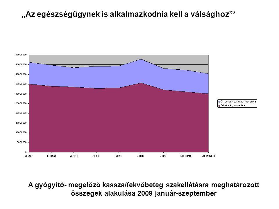 """A gyógyító- megelőző kassza/fekvőbeteg szakellátásra meghatározott összegek alakulása 2009 január-szeptember """"Az egészségügynek is alkalmazkodnia kell a válsághoz *"""