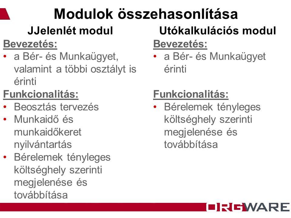 Modulok összehasonlítása JJelenlét modul Bevezetés: a Bér- és Munkaügyet, valamint a többi osztályt is érinti Funkcionalitás: Beosztás tervezés Munkai