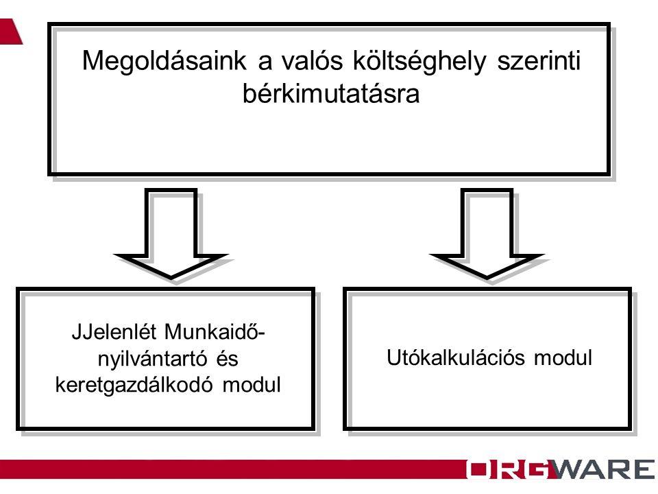 Megoldásaink a valós költséghely szerinti bérkimutatásra JJelenlét Munkaidő- nyilvántartó és keretgazdálkodó modul Utókalkulációs modul