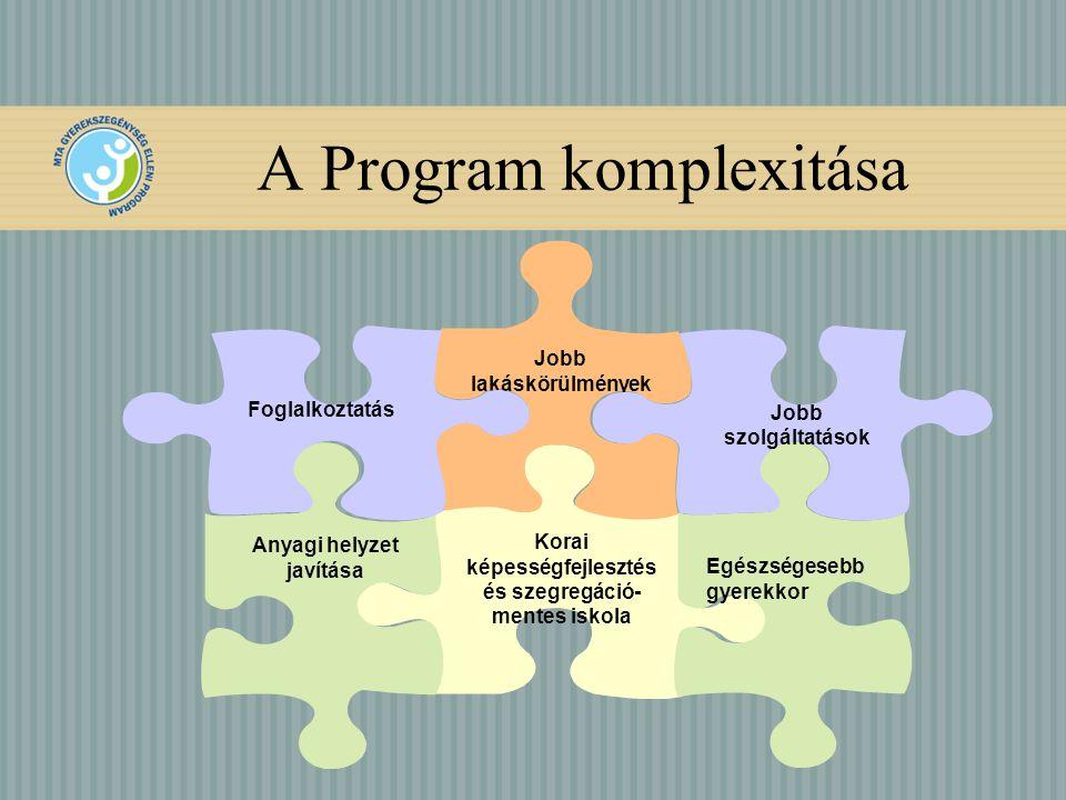 A Program komplexitása Jobb lakáskörülmények Korai képességfejlesztés és szegregáció- mentes iskola Anyagi helyzet javítása Foglalkoztatás Egészségesebb gyerekkor Jobb szolgáltatások