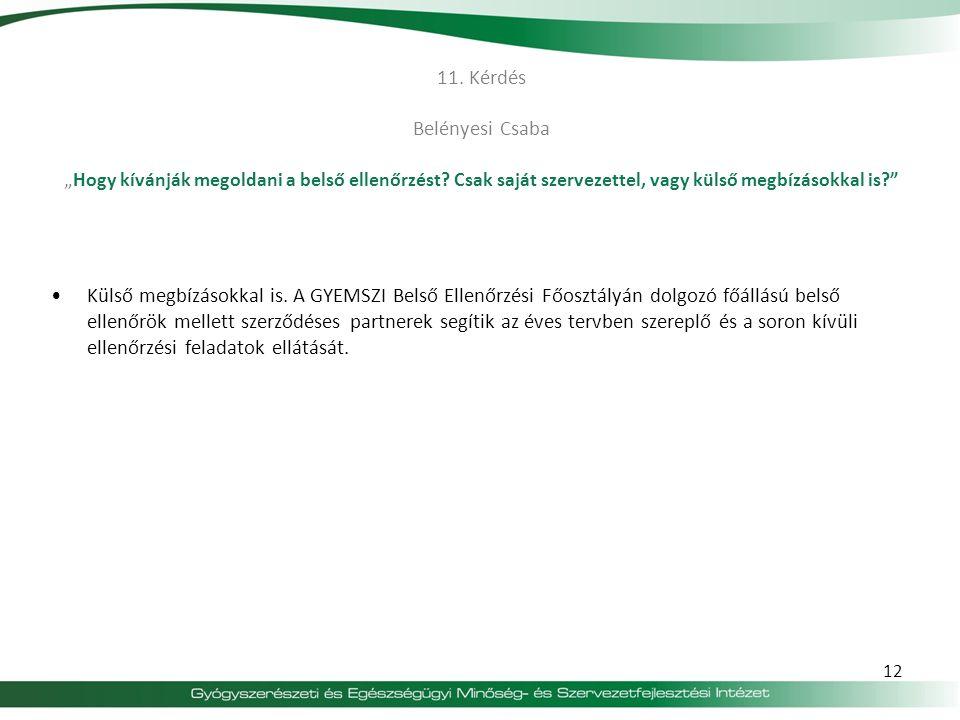 """11.Kérdés Belényesi Csaba """" Hogy kívánják megoldani a belső ellenőrzést."""