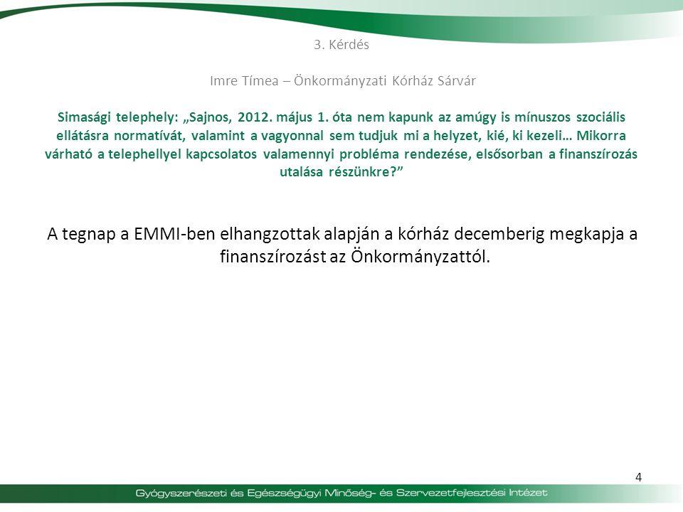 """3.Kérdés Imre Tímea – Önkormányzati Kórház Sárvár Simasági telephely: """"Sajnos, 2012."""
