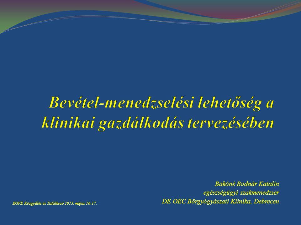Bakóné Bodnár Katalin egészségügyi szakmenedzser DE OEC Bőrgyógyászati Klinika, Debrecen EGVE Közgyűlés és Találkozó 2013. május 16-17.