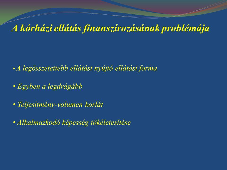 A kórház külső és belső környezete Külső környezet: - politikai, társadalmi, jogi, gazdasági - szakmai felügyelet - finanszírozási - tulajdonosi környezet Belső környezet: - betegek - technikai-gazdasági infrastruktúra - klinikai és egyéb szolgáltató munkatársak - a fentieket összehangoló vezetés
