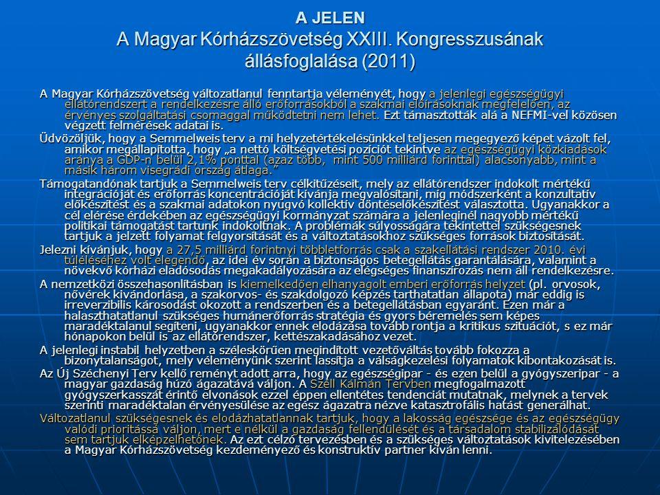 A JELEN A Magyar Kórházszövetség XXIII.