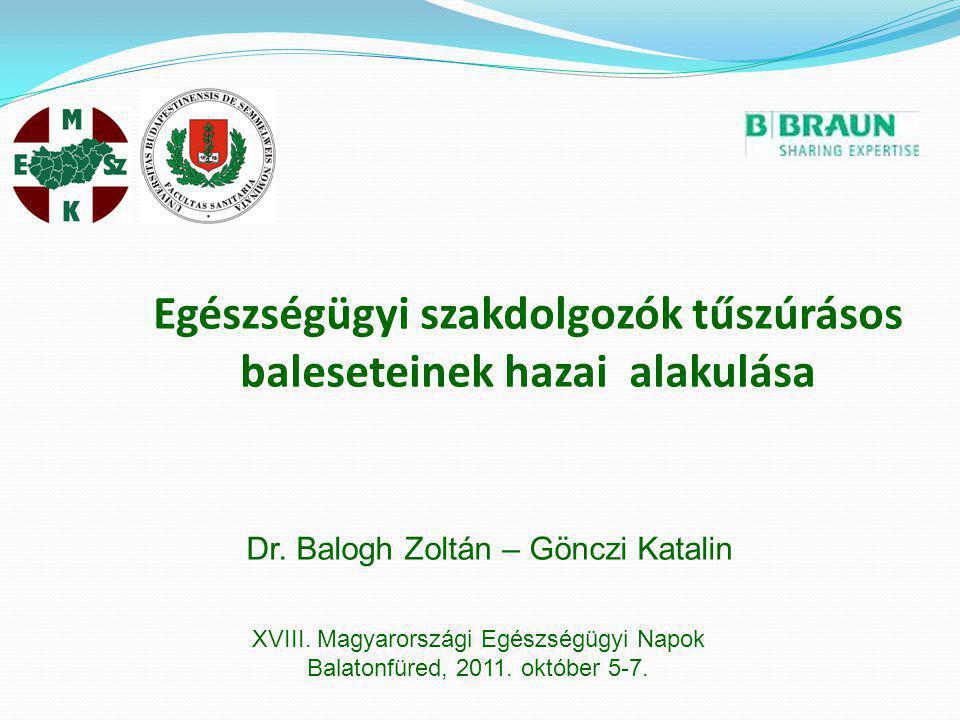 Egészségügyi szakdolgozók tűszúrásos baleseteinek hazai alakulása XVIII. Magyarországi Egészségügyi Napok Balatonfüred, 2011. október 5-7. Dr. Balogh