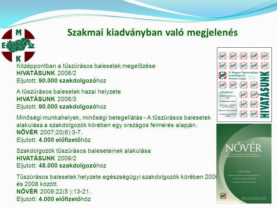 Szakmai kiadványban való megjelenés Középpontban a tűszúrásos balesetek megelőzése HIVATÁSUNK 2006/2 Eljutott: 90.000 szakdolgozóhoz A tűszúrásos bale