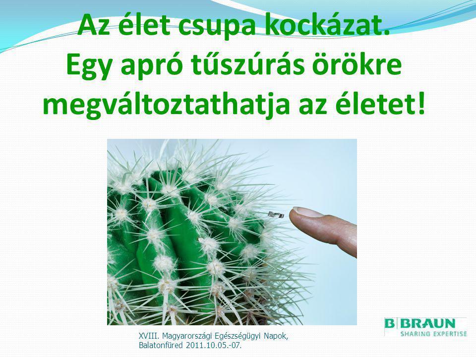Az élet csupa kockázat. Egy apró tűszúrás örökre megváltoztathatja az életet! XVIII. Magyarországi Egészségügyi Napok, Balatonfüred 2011.10.05.-07.