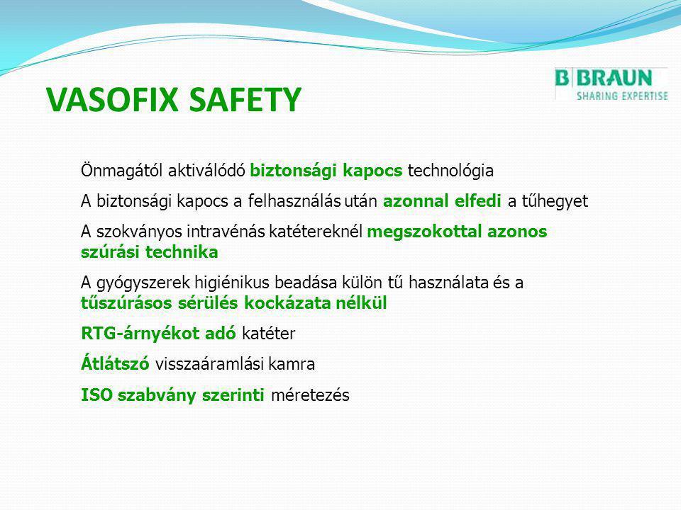 VASOFIX SAFETY Önmagától aktiválódó biztonsági kapocs technológia A biztonsági kapocs a felhasználás után azonnal elfedi a tűhegyet A szokványos intra