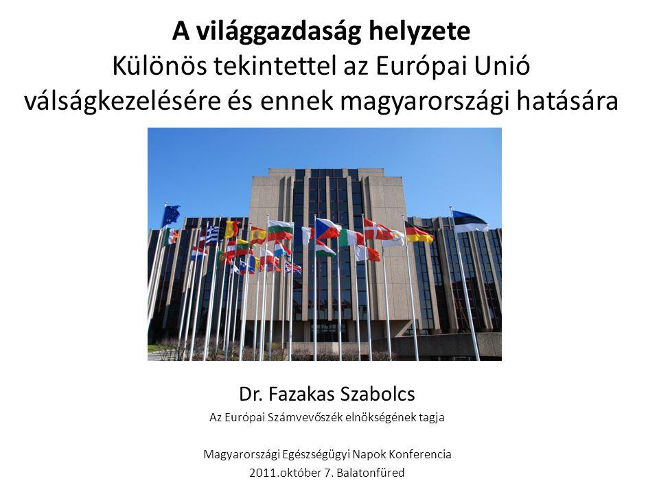 A világgazdaság helyzete Különös tekintettel az Európai Unió válságkezelésére és ennek magyarországi hatására Dr. Fazakas Szabolcs Az Európai Számvevő