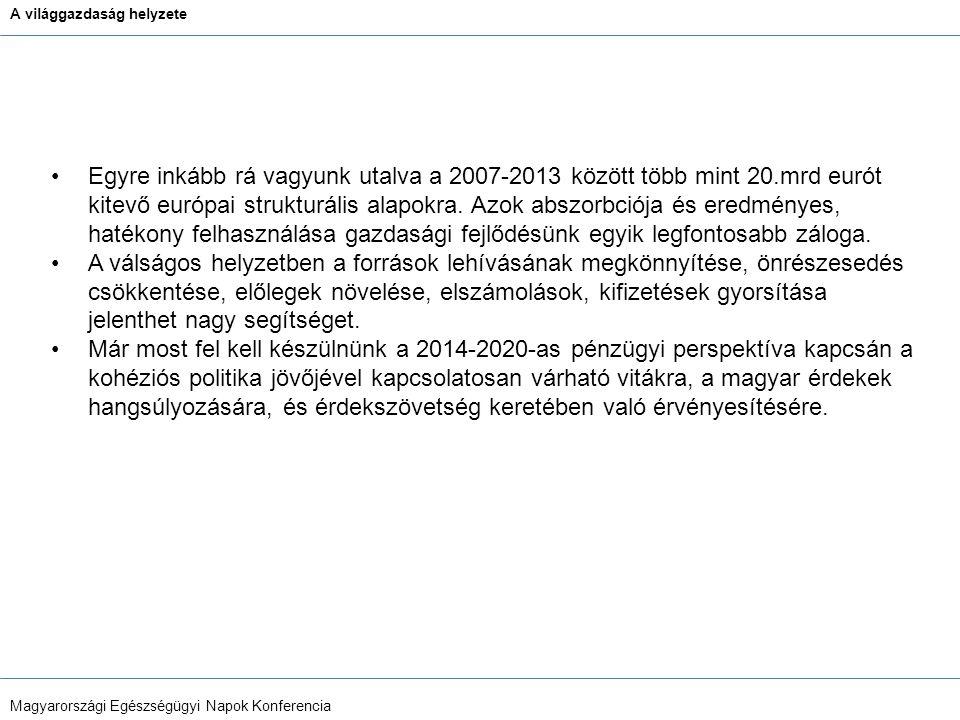 A világgazdaság helyzete Magyarországi Egészségügyi Napok Konferencia Egyre inkább rá vagyunk utalva a 2007-2013 között több mint 20.mrd eurót kitevő európai strukturális alapokra.