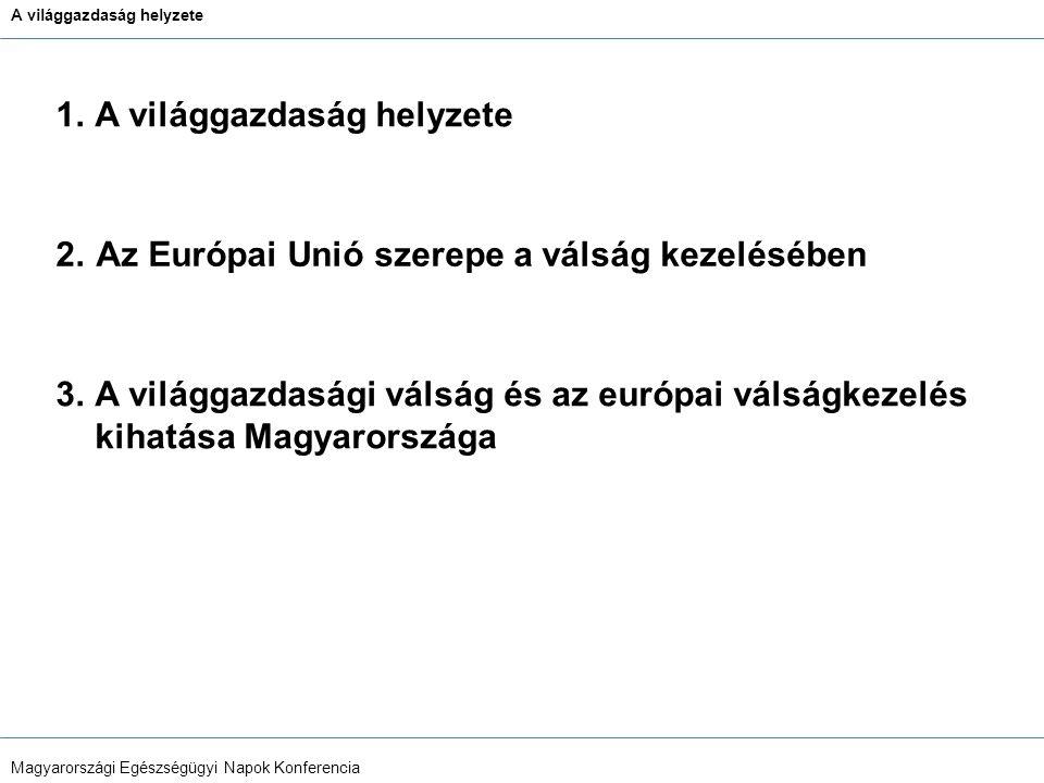 A világgazdaság helyzete Magyarországi Egészségügyi Napok Konferencia Bizalmi és hitelválság Likviditási problémák → Csődök (Lehman Brothers) →Recesszió Globális, vagy koordinált európai megoldás hiányában költséges,ad.hoc mentőintézkedések (ennek következménye: IMF és ECB hitelkeret Magyarországnak) 1.