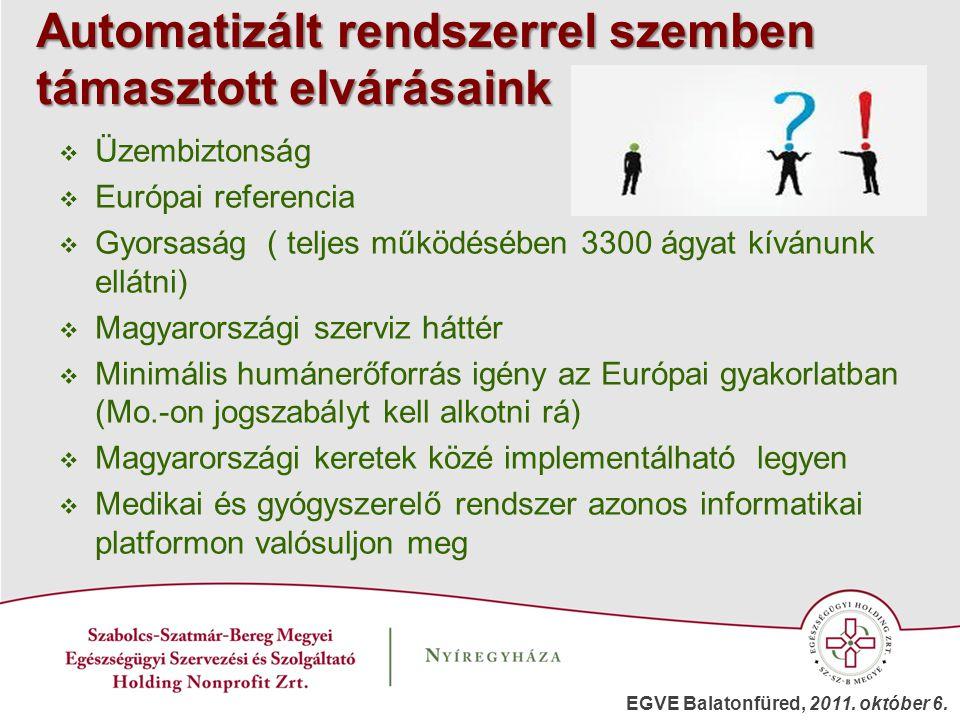 Automatizált rendszerrel szemben támasztott elvárásaink  Üzembiztonság  Európai referencia  Gyorsaság ( teljes működésében 3300 ágyat kívánunk ellá