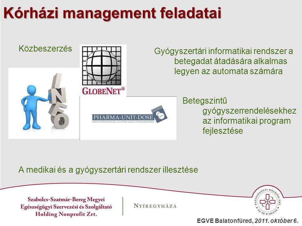 Kórházi management feladatai Közbeszerzés Gyógyszertári informatikai rendszer a betegadat átadására alkalmas legyen az automata számára A medikai és a