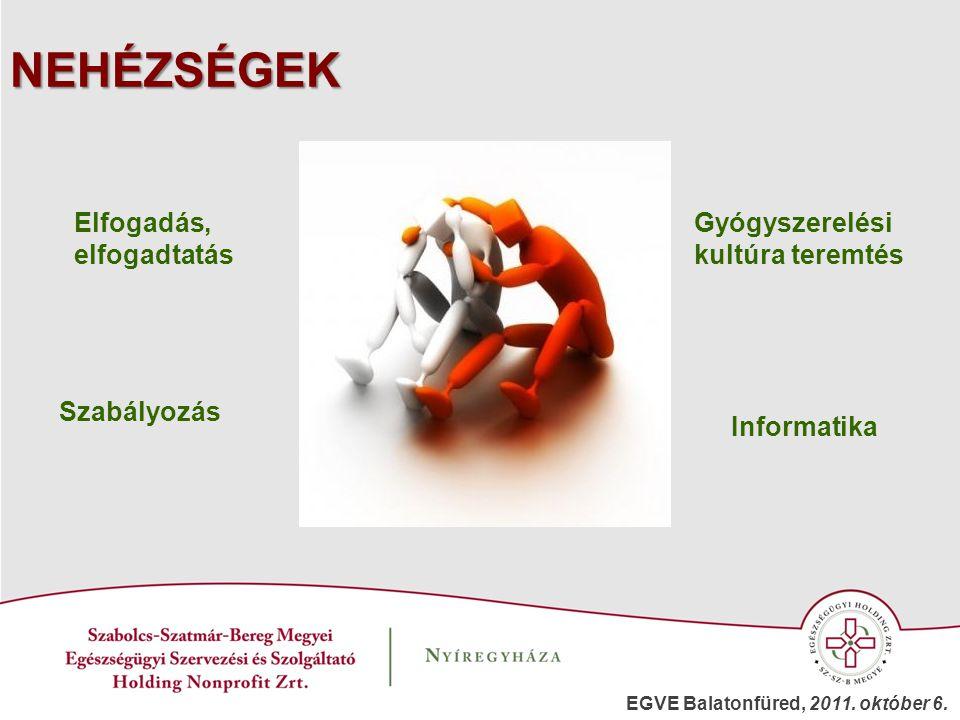 NEHÉZSÉGEK Gyógyszerelési kultúra teremtés Informatika Szabályozás Elfogadás, elfogadtatás EGVE Balatonfüred, 2011. október 6.