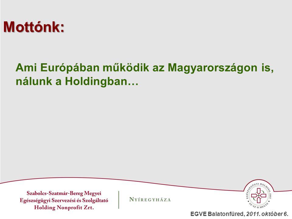 Mottónk: Ami Európában működik az Magyarországon is, nálunk a Holdingban… EGVE Balatonfüred, 2011. október 6.