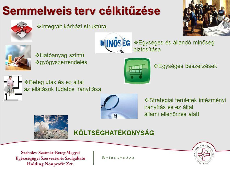 Semmelweis terv célkitűzése  Integrált kórházi struktúra  Egységes és állandó minőség biztosítása  Egységes beszerzések  Stratégiai területek inté