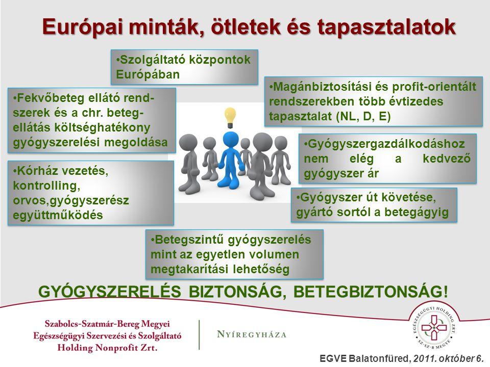 Magánbiztosítási és profit-orientált rendszerekben több évtizedes tapasztalat (NL, D, E) Szolgáltató központok Európában Fekvőbeteg ellátó rend- szere