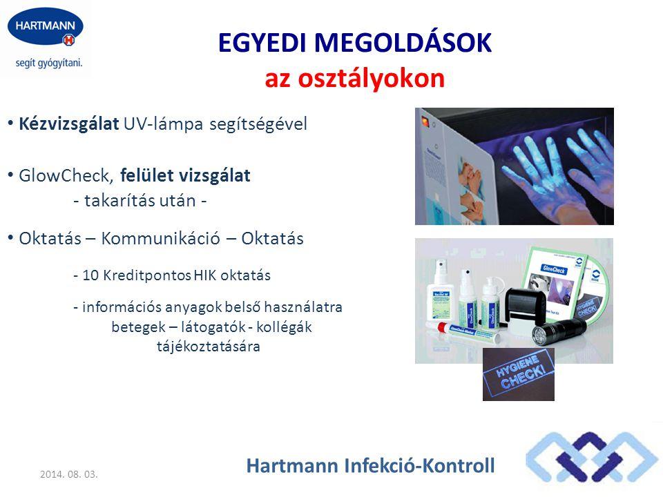 EGYEDI MEGOLDÁSOK az osztályokon Kézvizsgálat UV-lámpa segítségével 2014. 08. 03. Hartmann Infekció-Kontroll GlowCheck, felület vizsgálat - takarítás