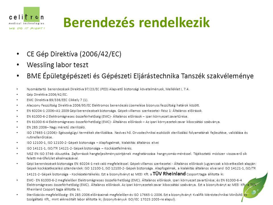 Berendezés rendelkezik CE Gép Direktíva (2006/42/EC) Wessling labor teszt BME Épületgépészeti és Gépészeti Eljárástechnika Tanszék szakvéleménye Nyomástartó berendezések Direktíva 97/23/EC (PED) Alapvető biztonsági követelmények, Melléklet I, 7.4.