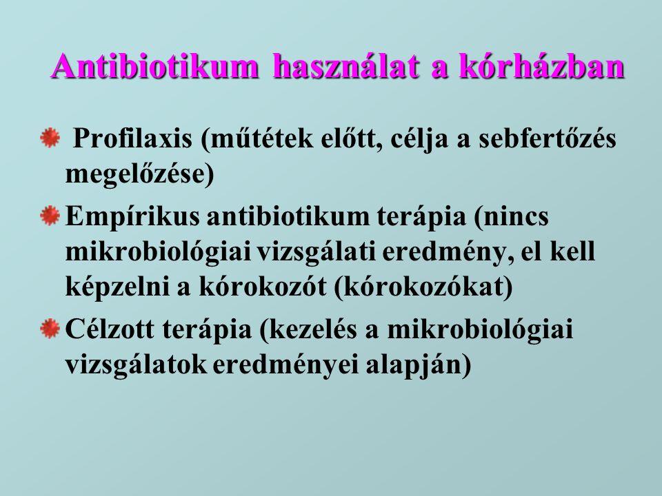 Antibiotikum használat a kórházban Profilaxis (műtétek előtt, célja a sebfertőzés megelőzése) Empírikus antibiotikum terápia (nincs mikrobiológiai viz