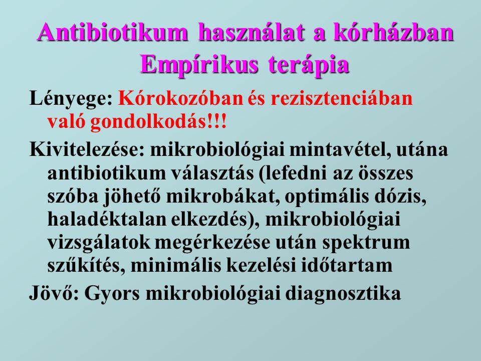 Antibiotikum használat a kórházban Empírikus terápia Lényege: Kórokozóban és rezisztenciában való gondolkodás!!! Kivitelezése: mikrobiológiai mintavét
