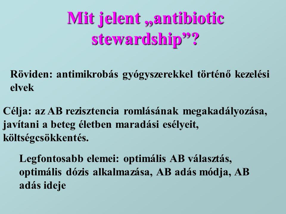 """Mit jelent """"antibiotic stewardship""""? Röviden: antimikrobás gyógyszerekkel történő kezelési elvek Célja: az AB rezisztencia romlásának megakadályozása,"""