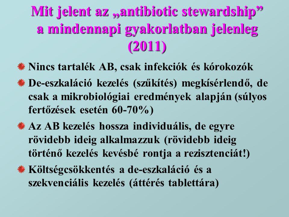 """Mit jelent az """"antibiotic stewardship"""" a mindennapi gyakorlatban jelenleg (2011) Nincs tartalék AB, csak infekciók és kórokozók De-eszkaláció kezelés"""