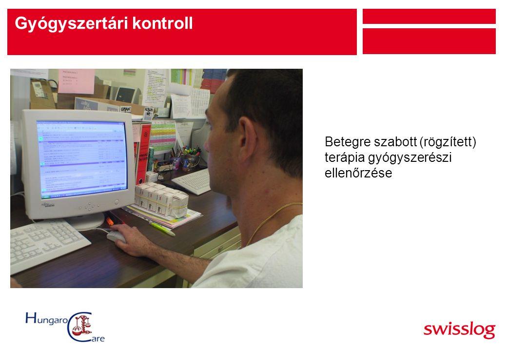 Betegre szabott (rögzített) terápia gyógyszerészi ellenőrzése Gyógyszertári kontroll