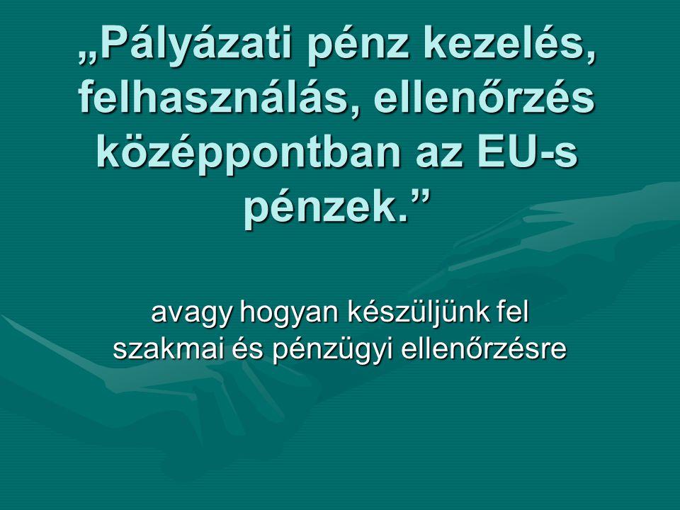 """""""Pályázati pénz kezelés, felhasználás, ellenőrzés középpontban az EU-s pénzek."""" avagy hogyan készüljünk fel szakmai és pénzügyi ellenőrzésre"""