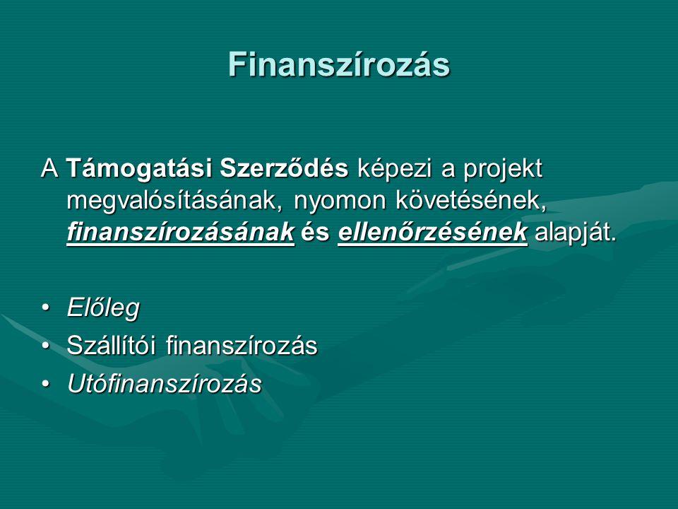 Finanszírozás A Támogatási Szerződés képezi a projekt megvalósításának, nyomon követésének, finanszírozásának és ellenőrzésének alapját. ElőlegElőleg