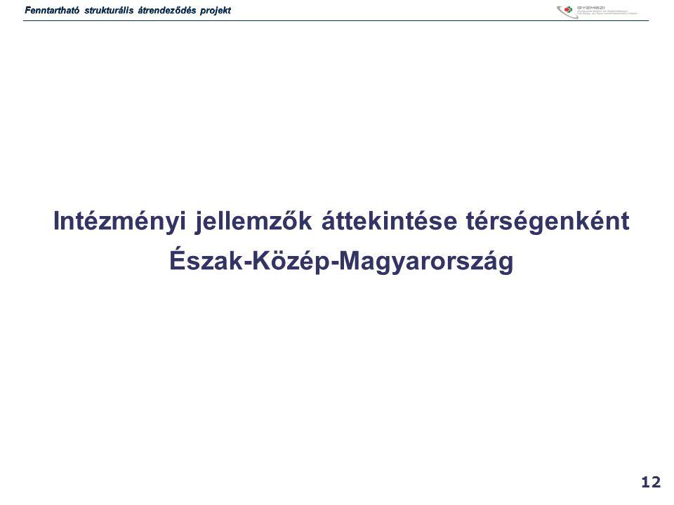 12 Intézményi jellemzők áttekintése térségenként Észak-Közép-Magyarország Fenntartható strukturális átrendeződés projekt