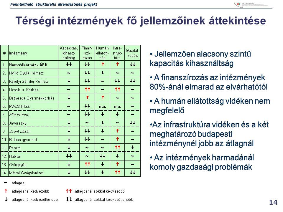 14 Térségi intézmények fő jellemzőinek áttekintése Jellemzően alacsony szintű kapacitás kihasználtság A finanszírozás az intézmények 80%-ánál elmarad az elvárhatótól A humán ellátottság vidéken nem megfelelő Az infrastruktúra vidéken és a két meghatározó budapesti intézménynél jobb az átlagnál Az intézmények harmadánál komoly gazdasági problémák Jellemzően alacsony szintű kapacitás kihasználtság A finanszírozás az intézmények 80%-ánál elmarad az elvárhatótól A humán ellátottság vidéken nem megfelelő Az infrastruktúra vidéken és a két meghatározó budapesti intézménynél jobb az átlagnál Az intézmények harmadánál komoly gazdasági problémák Fenntartható strukturális átrendeződés projekt